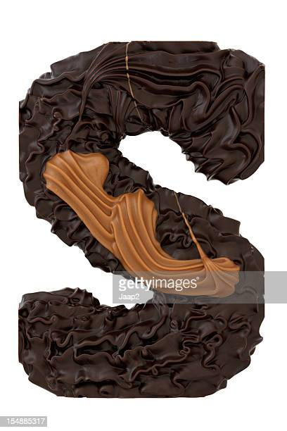 Chocolate letter S on white