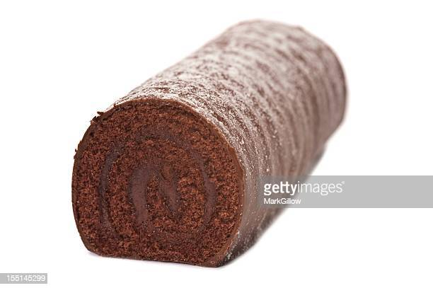chocolate log - yule log stock photos and pictures