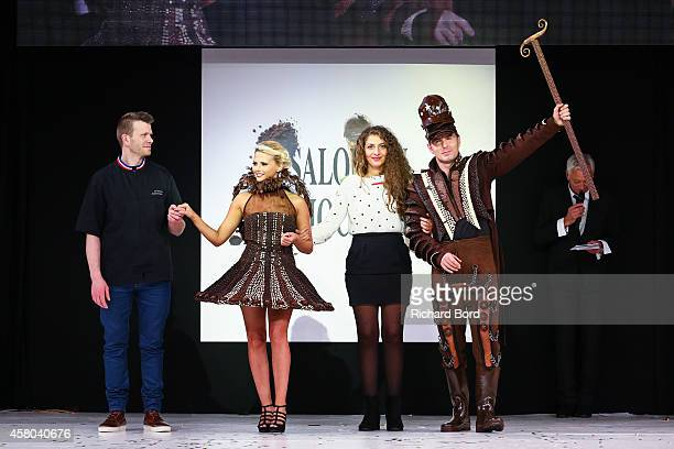 Chocolate maker Franck Kestener Kelly Vedovelli stylist Nathalie Erkan and JeanPhilippe Doux walk the runway during the Fashion Chocolate show at...