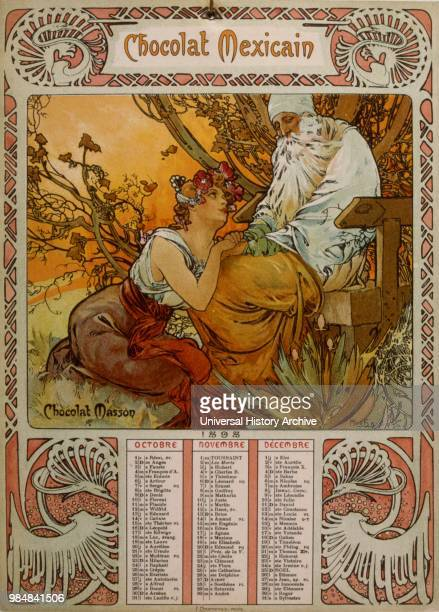 Chocolate Masson calendar illustrated by Mucha a Czech Art Nouveau painter