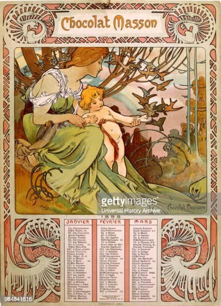 Chocolate Masson calendar illustrated by Mucha . A Czech Art Nouveau painter.