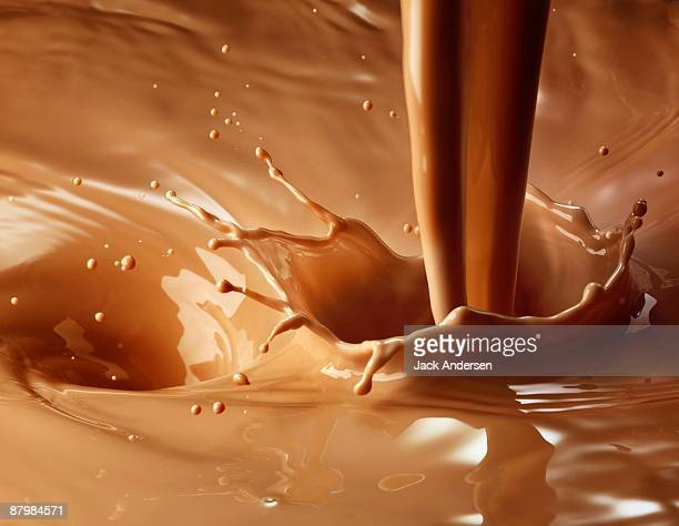 Chocolate milk pour and splash