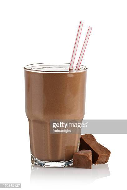 Chocolate milk shake smoothie on white background