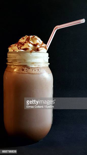 Chocolate Milkshake Against Black Background