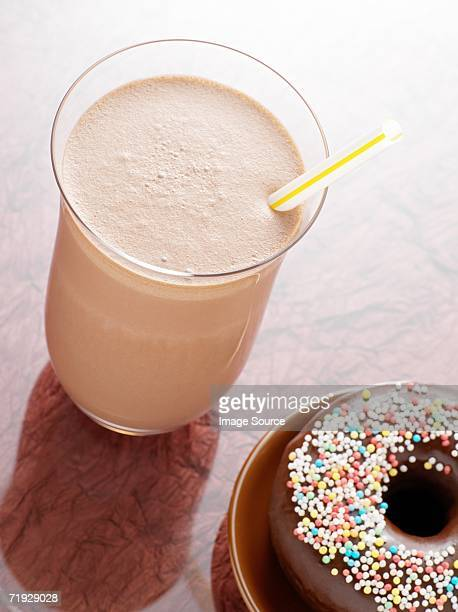 Chocolate milkshake and doughnut