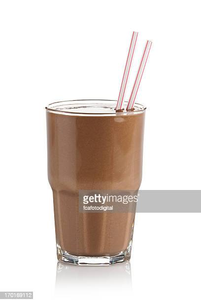 Chocolate milkshake glass against white background