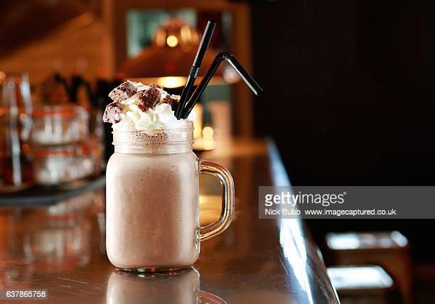 chocolate milkshake - milkshake stock pictures, royalty-free photos & images