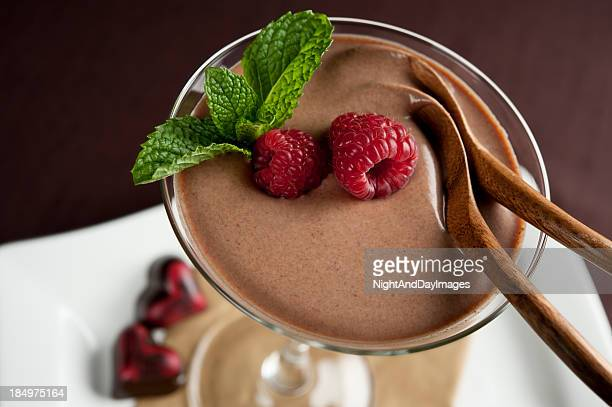 A chocolate mouse dessert for two