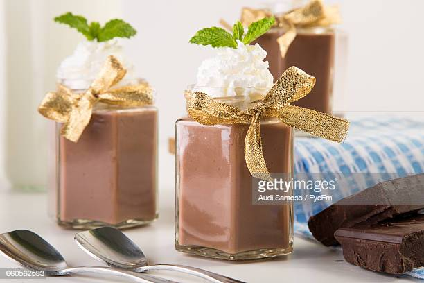 Chocolate Mousse In Jars On Table