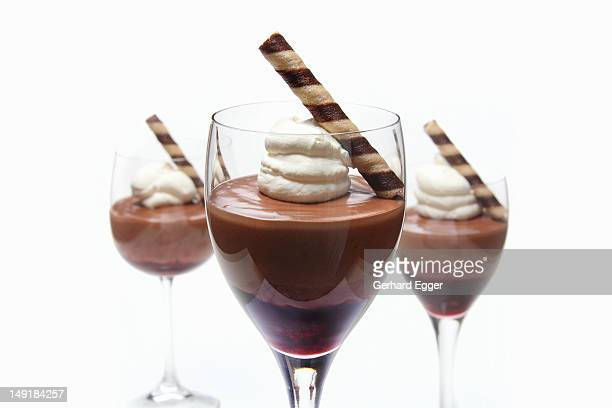 Chocolate mousse with berry compote