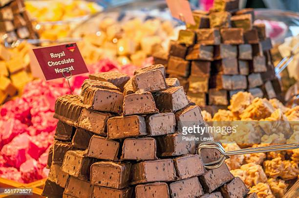 chocolate nougat - nougat stock pictures, royalty-free photos & images