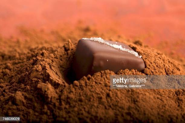 Chocolate on a heap od cacao