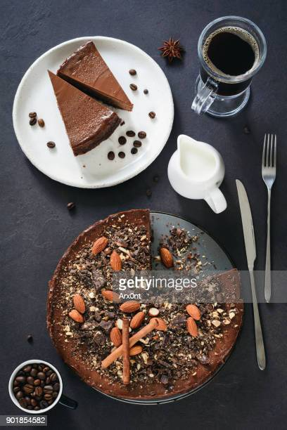 Chocolate pie with nuts