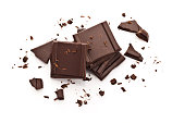 Chocolate pieces isolated on white background-Top view