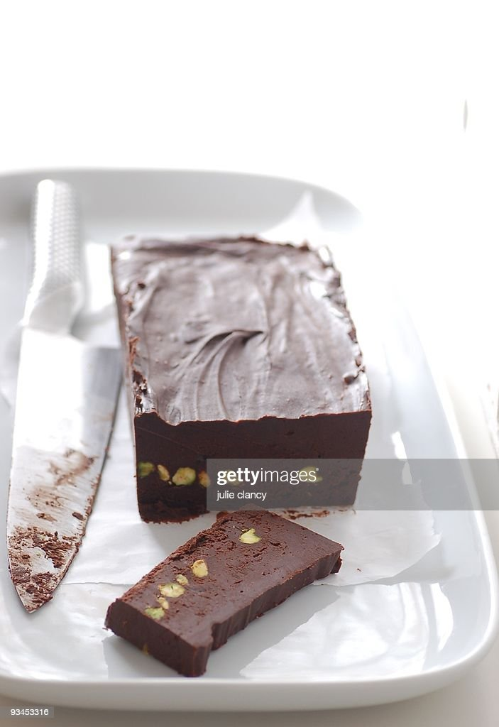 Chocolate & pistachio fudge : Stock Photo