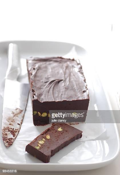 chocolate & pistachio fudge - fudge stock photos and pictures