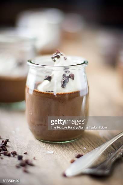 Chocolate Pot De Crème in Vintage Glass Jar