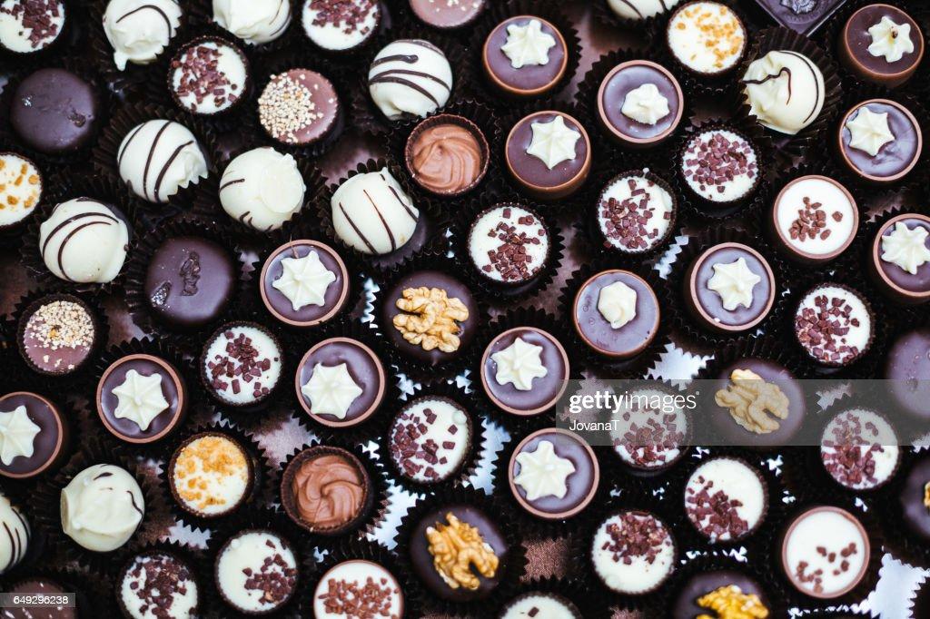 Chocolate pralines : Stock Photo