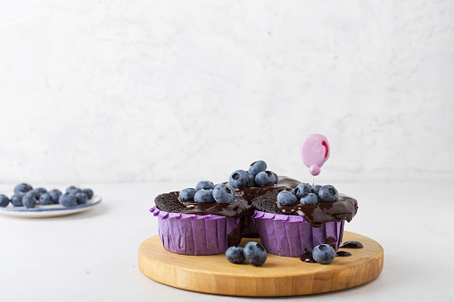 Chocolate pudding cakes with chocolate frosting and blueberries - gettyimageskorea