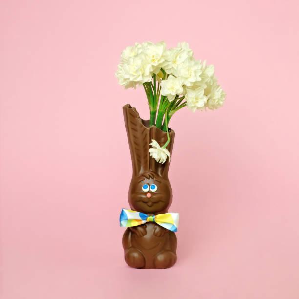 Chocolate rabbit vase with flowers