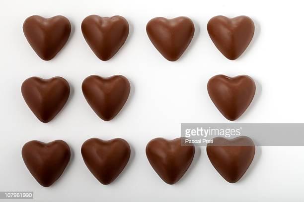 chocolate shaped hearts