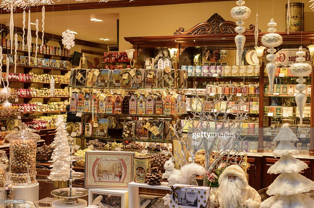 Chocolate shop in Brussels : Stock Photo