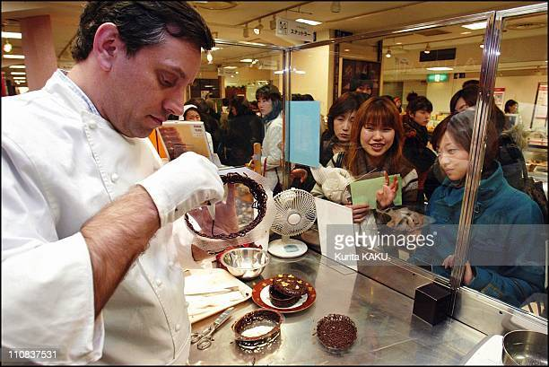 Chocolate Show At Isetan Department Store In Tokyo Japan On February 02 2004 Frederic Madelaine chef patissier of Dalloyau Japon makes chocolates at...
