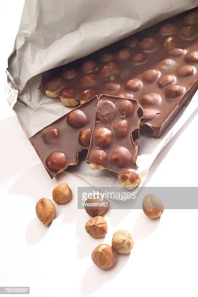 Chocolate slab with hazelnuts