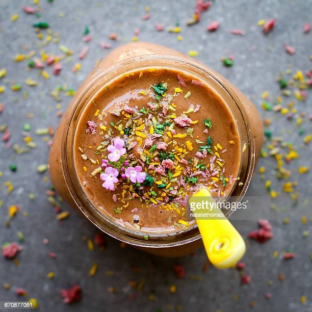 Chocolate Smoothie drink with Flower decoration