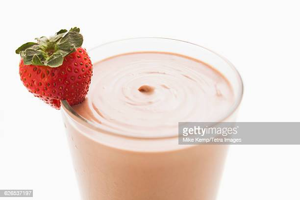 Chocolate smoothie in glass decorated with strawberry