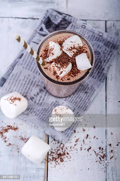 Chocolate smoothie with marshmallows