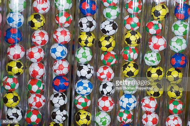 Chocolate soccer balls on display in a souvenir shop in the seaside resort of Blackpool in the northwest of England, 28th August 2007.