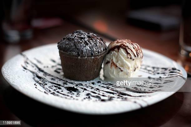 Chocolate soufflé and ice-cream