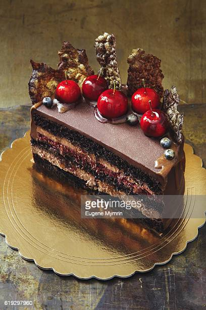 Chocolate sponge cake decorated with berries and fruits