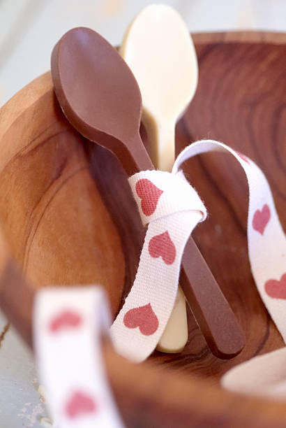 Chocolate spoons tied with ribbon