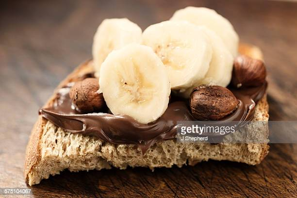 Chocolate spread and banana on bread