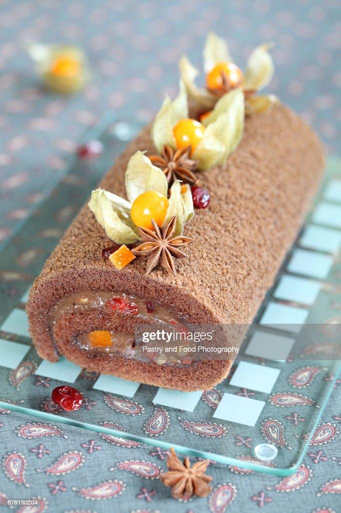 Chocolate Swiss Roll Cake : Stock Photo