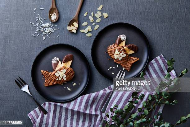 chocolate taiyaki - chocolate cake above stock pictures, royalty-free photos & images