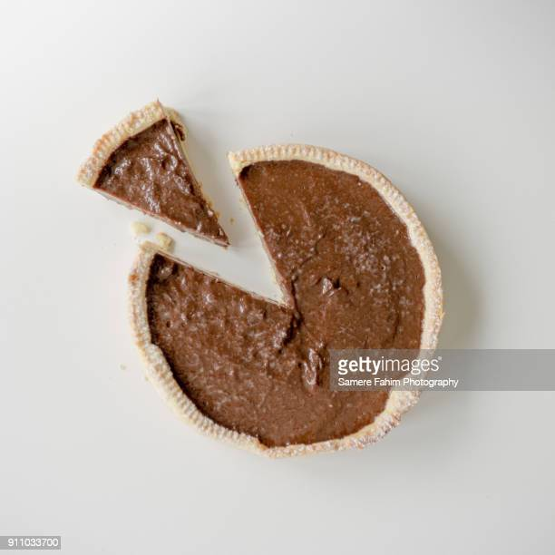 chocolate tart - savory pie stock photos and pictures