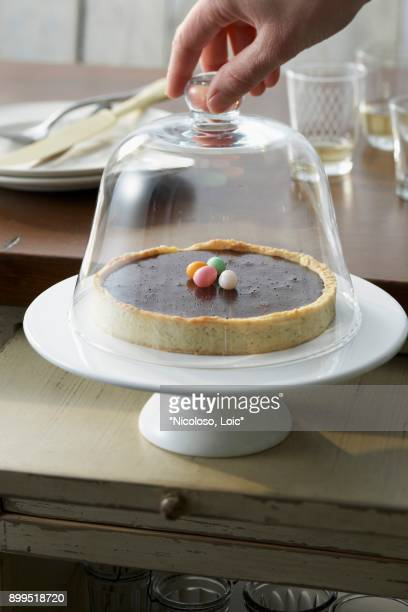 chocolate tart under a glass dome - cloche de paques photos et images de collection