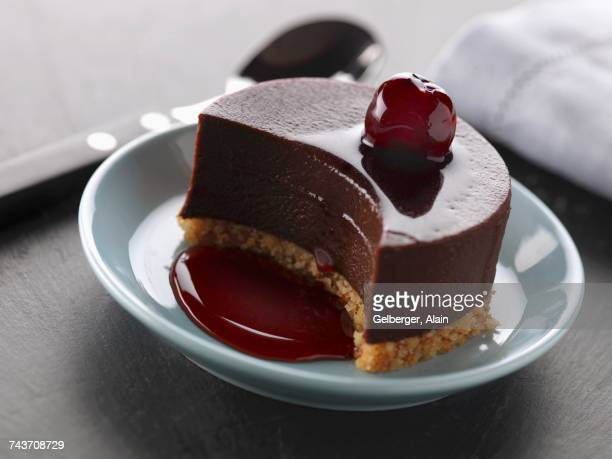 Chocolate tartlet with cherry puree