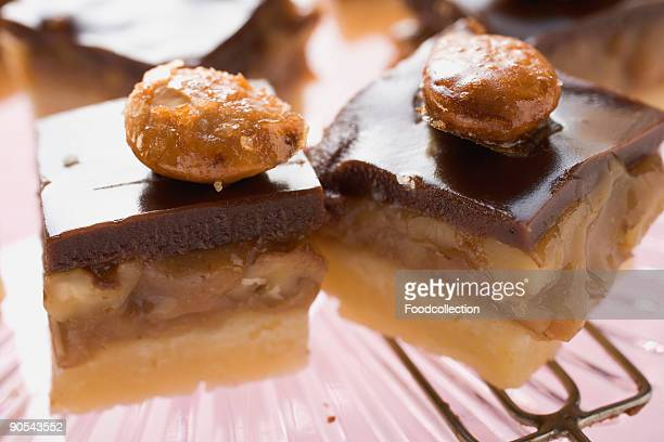 Chocolate toffee shortbread with walnut toffee and almonds, close up