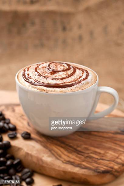 chocolate topped coffee - mocha stock photos and pictures