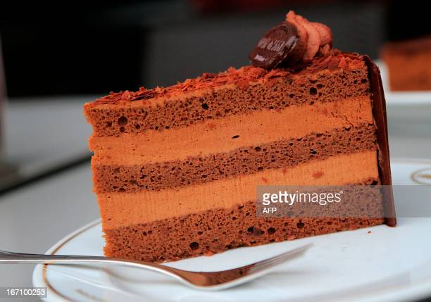 A chocolate truffle torte cake is seen in Vienna on April 20 2013 Cakes and pastries are a very popular feature of Austria's cuisine AFP PHOTO /...