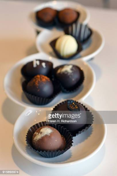 Chocolate truffles are a specialty at Chocolate Lab on February 7 2018 in Denver Colorado Chocolatier Phil Simonson has created a unique chocolate...