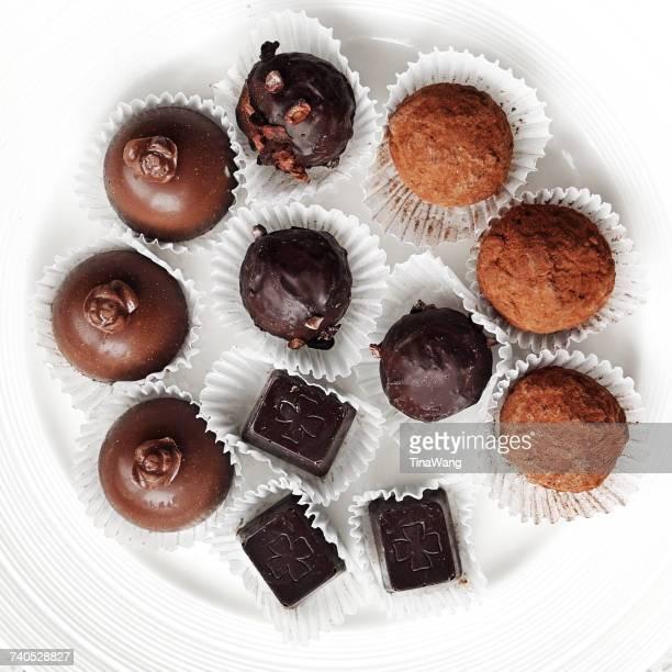 Chocolate truffles on a plate