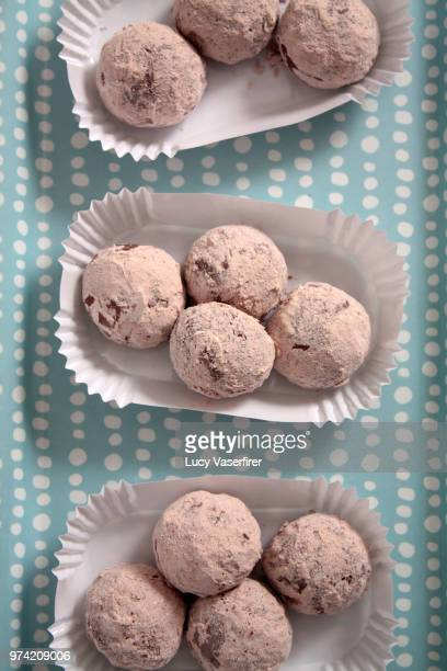 chocolate truffles on paper plates, overhead view, vancouver, washington, usa - paper plate stock photos and pictures