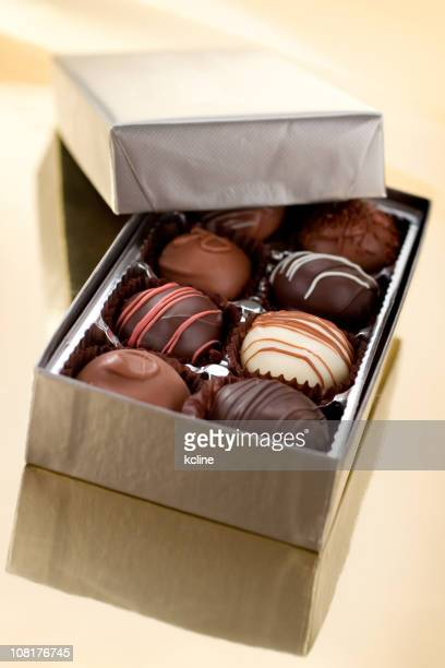 chocolate truffles - box of chocolate stock pictures, royalty-free photos & images