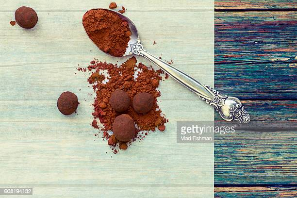 chocolate truffles - chocolate pieces stock photos and pictures