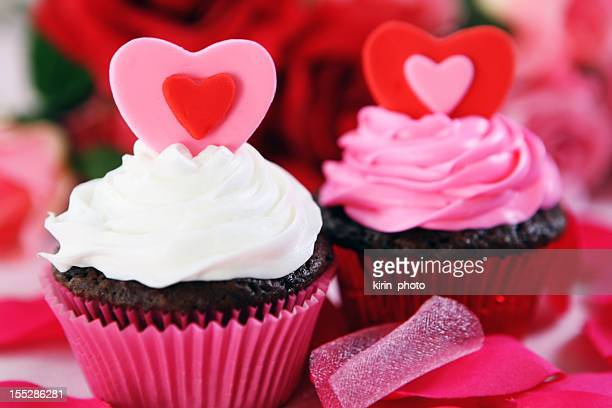 Chocolate Valentine's cupcakes decorated in pink and red